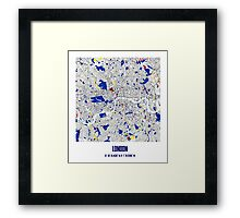London Piet Mondrian Style City Street Map Art Framed Print
