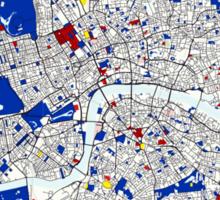London Piet Mondrian Style City Street Map Art Sticker