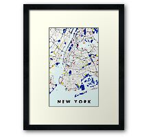 Map of New York in the style of Piet Mondrian Framed Print