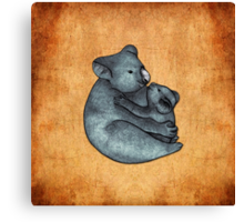 Koalas - a cute hand drawn illustration of a mother koala and her baby Canvas Print