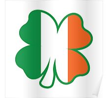 Four Leaf Clover with Irish Flag Poster
