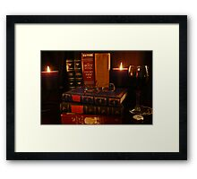 Books and Wine by Candlelight Framed Print