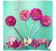 Flower paint Brushes Poster