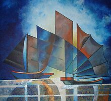 Ships in Pointillism by taiche