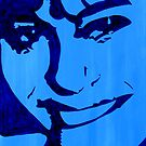 """Blue Girl"" original signed acrylic painting on canvas by Michael Arnold"