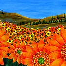 &quot;Sunflower Field&quot; Original Floral Nature Painting by Michael Arnold
