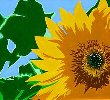 """""""Sunflower"""" Pop Art Style Nature Painting by Michael Arnold"""