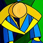 """Man in Blue, Green & Yellow"" original abstract acrylic painting on canvas by Michael Arnold"