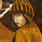 """Girl in Brown and Gold"" original signed acrylic painting on canvas by Michael Arnold"