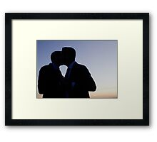 LGBT gay wedding marriage grooms kiss silhouette wedding photo Framed Print