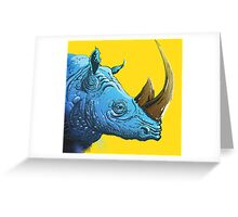 Blue Rhino on Yellow Background Greeting Card