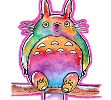 Cute Colorful Totoro! Tshirts + more! (watercolor)  by Jonny2may