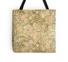 'Peonies' by Alphonse Mucha (Reproduction) Tote Bag