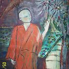 Buddhist monk with a sparkler by catherine walker
