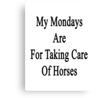 My Mondays Are For Taking Care Of Horses  Canvas Print
