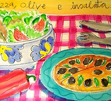 PIZZA , OLIVE , E  INSALATA ( PIZZA , OLIVES ,& SALAD ) by ART PRINTS ONLINE         by artist SARA  CATENA