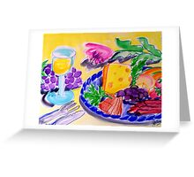 WHITE  WINE , CHEESE  &  FRUIT  PLATTER Greeting Card