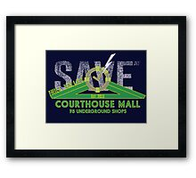 SAVE at the Hill Valley Courthouse Mall Framed Print