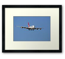 Qantas A380 On Approach  Framed Print