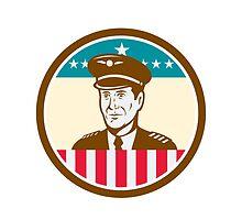 Airline Pilot Aviator USA Flag Circle Retro by patrimonio