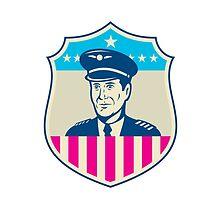American Airline Pilot Aviator USA Flag Shield Retro by patrimonio