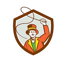 Circus Ring Master Bullwhip Shield Retro by patrimonio