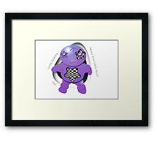 Oki Purple Robot - Never Fear Oki's Here! Framed Print