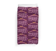 Don't make me get all stabby on you! Funny knitting knitters joke design Duvet Cover