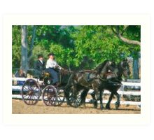 Impasto-stylized photo of  a woman driving an Andalusian horse-drawn carriage in dressage competition at Del Mar Horsepark in Del Mar, CA US. Art Print