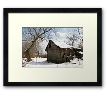 Rustic Winter Scene in Barda Romania - all products Framed Print