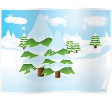 Fir tree on slope Poster