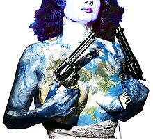 "Title: ""Keep Moving"" Queen Of Burlesque, Sexy Earth Girl with Guns by O O"