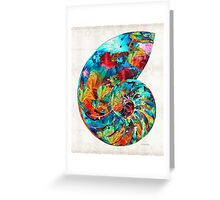Colorful Nautilus Shell by Sharon Cummings Greeting Card