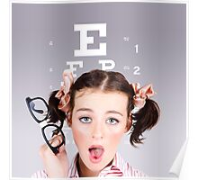 Vision impaired woman at optometrist Poster