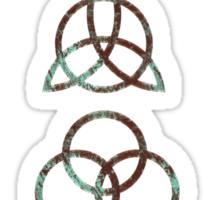 ANCIENT PAGAN ELEMENTS SYMBOLS (V) - aqua/brown grunge Sticker