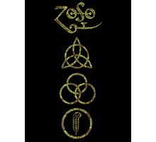 VERTICAL METAPHYSICAL RUNES - olive grunge Photographic Print