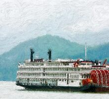 Stylized photo of the Empress of the North paddle-wheel riverboat  in the Gastineau Channel in Juneau, AK. by NaturaLight