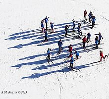 Aerial of Cross Country Skiers by A.M. Ruttle