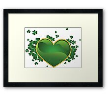 Green heart with clovers Framed Print