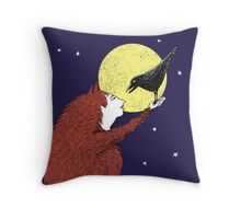 Raven and Fox Throw Pillow