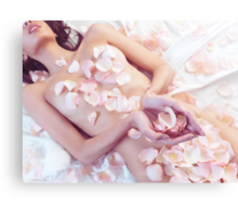 Beautiful nude asian woman with rose petals on her body art photo print Canvas Print