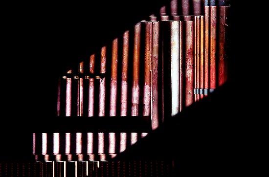 Corrugated shadows, Tokyo, Japan by Roz McQuillan