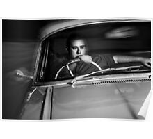 Mobster driving getaway vehicle during car chase Poster