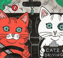 Ginger Cat On Driving Test by Mayers Tanya