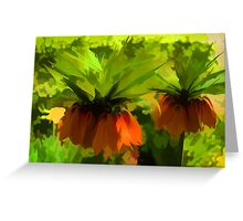 Showy Orange Crown Imperial Flowers - Impressions Of Spring Greeting Card