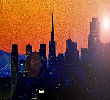 City Silhouetted in Orange and Blues by kDesignationz