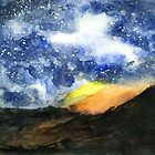Starry Night with Fire in Santa Monica Mountains by Randy Sprout
