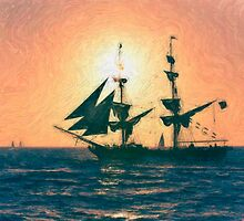 Impasto-stylized photo of the Tall Ship Exy Johnson off Dana Point, CA US. by NaturaLight
