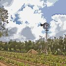 Stylized photo of the grape vinyard and windmill at the Rancho Bernardo Winery in San Diego, CA US.  by NaturaLight