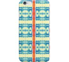 blue and cream blocks with red stripes iPhone Case/Skin